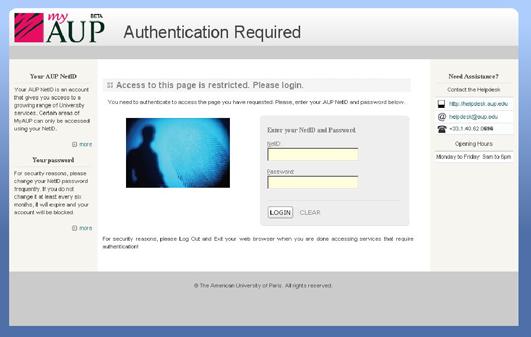 Capture d'écran de la page de connection du site d'American University of Paris