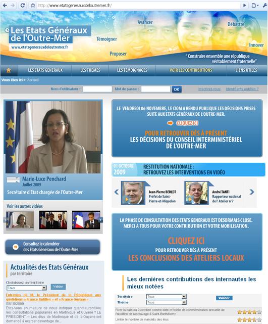 Capture d'écran de la page d'accueil du site des États généraux de l'Outre-Mer