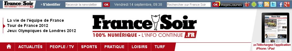 Capture d'écran de la page d'accueil du site France Soir en 2012.