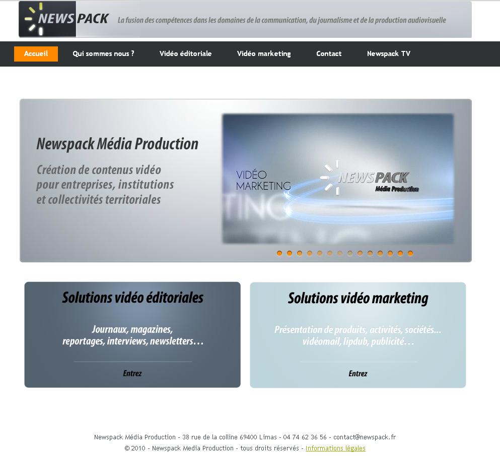 Capture d'écran du site Newspack en 2012