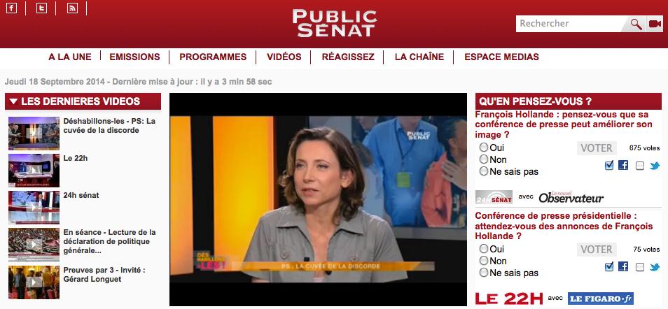 Capture d'écran de la page d'accueil du site Public Sénat en 2014.
