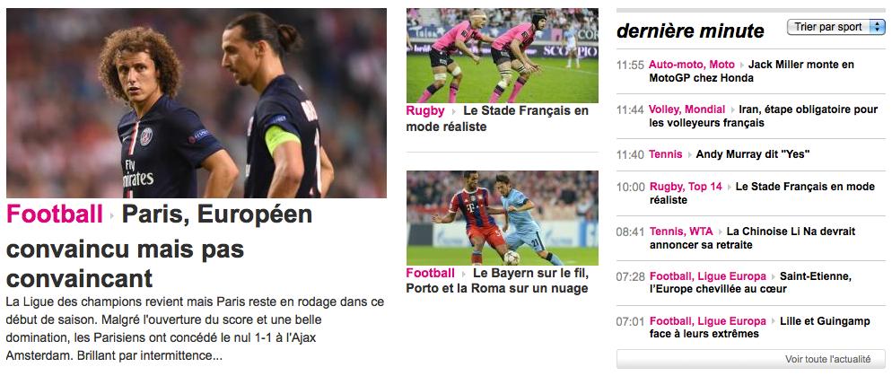 Capture d'écran de la page d'accueil du site France TV Sport.