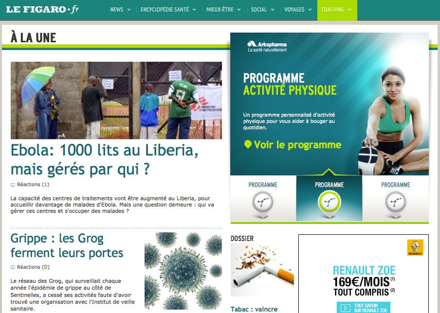 Capture d'écran de la page d'accueil du site de Figaro Santé en 2014