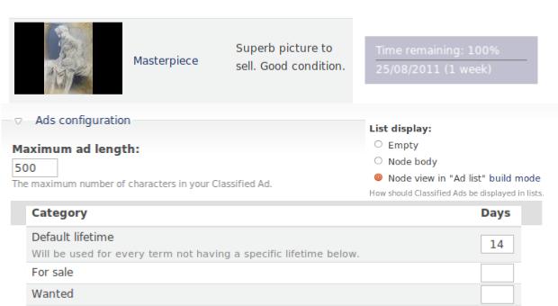 Illustrations des nouveautés de Classified Ads 3.0 RC1